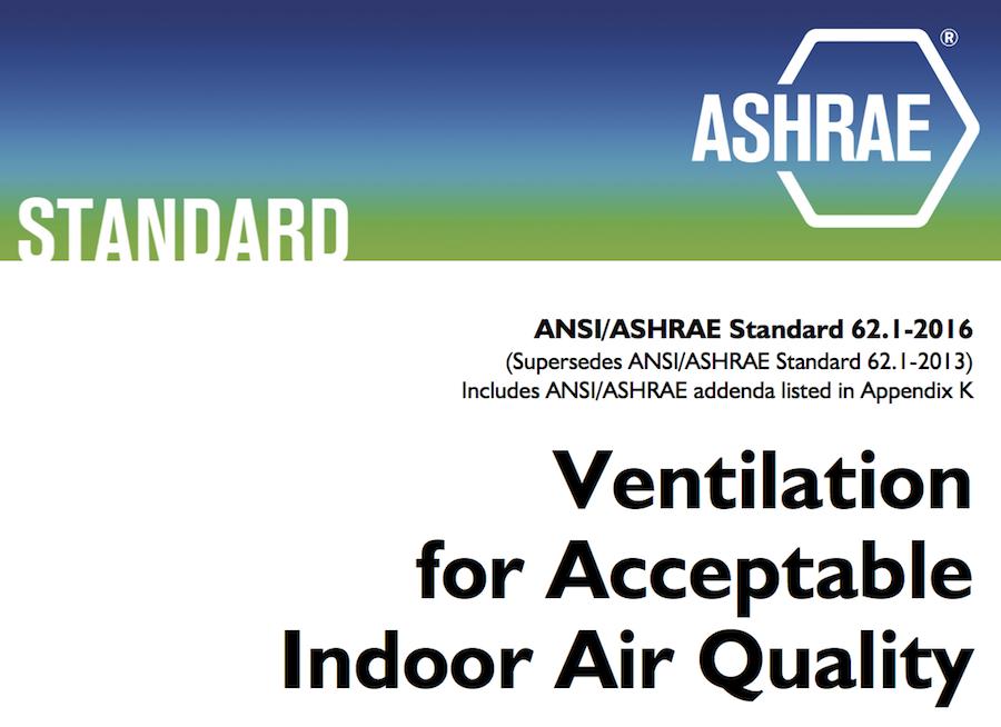 ANSI-ASHRAE 62.2-2016 ventilazione e qualità aria interna